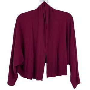 Addition Elle Cropped Open Cardigan burgundy 1X